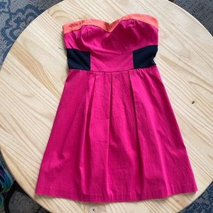 NWT Sparkle & Fade Pink Colorblock Strapless Dress